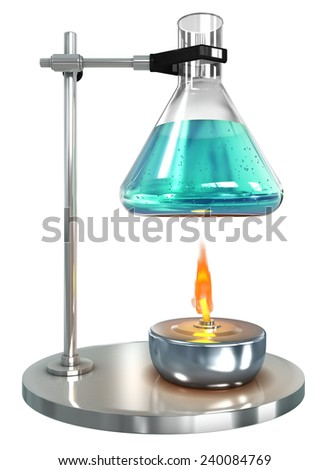 Test-tube with liquid on alcohol lamp, 3d render isolated on white - stock photo