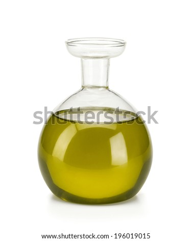 Test-tube with liquid / studio photography of olive oil over white background  - stock photo