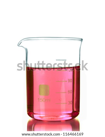 Test-tube with red liquid isolated on white - stock photo