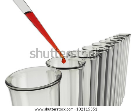 Test tubes and pipette with a drop of red liquid - stock photo