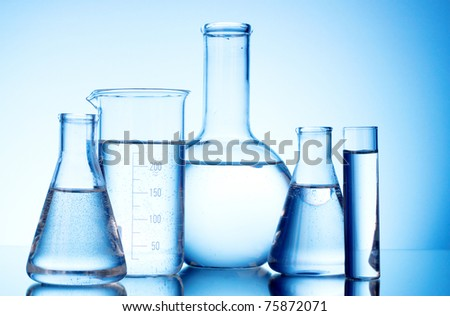 Test-tubes blue colors. Laboratory glassware - stock photo