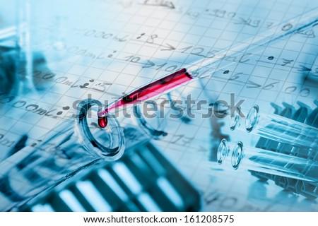 Test tubes closeup.medical glassware. - stock photo