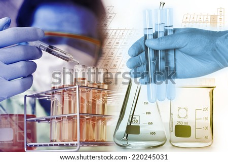 Test tubes closeup,medical glassware  - stock photo