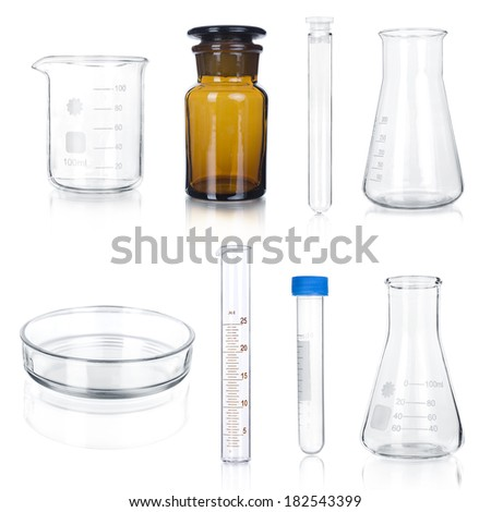 Test-tubes collection  isolated on white. Laboratory glassware - stock photo