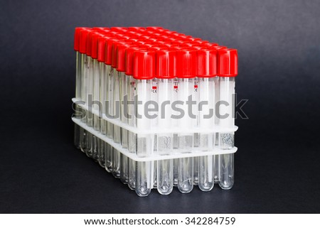 Test tubes in laboratory for  science, scientific, chemical, chemistry research or experiment. Lab medical glass equipment, medicine, biology or biotechnology liquid. Analysis pharmaceutical glassware - stock photo