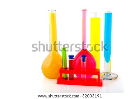 test tubes in the laboratory filled with liquids