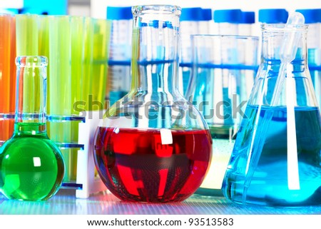 Test-tubes in the  Scientific laboratory. - stock photo