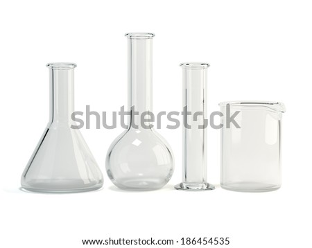 Test-tubes isolated on white background. Laboratory glassware. Chemical science equipment