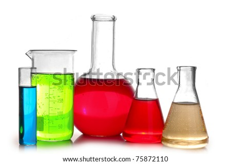 Test-tubes isolated on white. Laboratory glassware