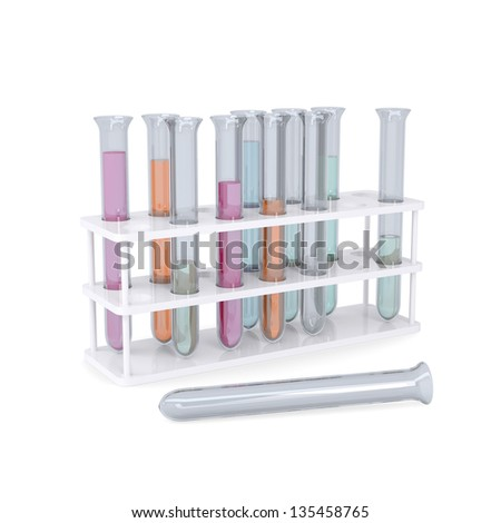 Test tubes. Isolated render on a white background - stock photo