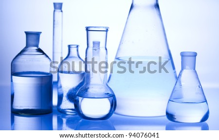 Test tubes on blue background