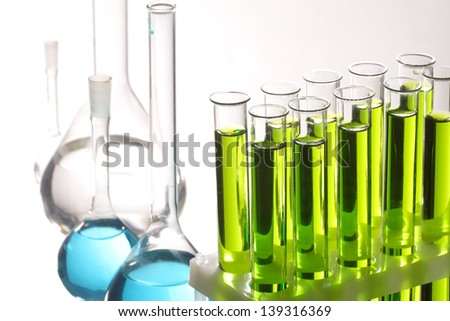 test tubes on white - stock photo