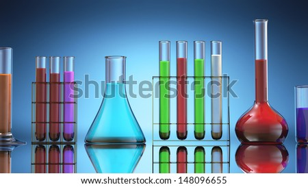 Test tubes with colored liquid inside.