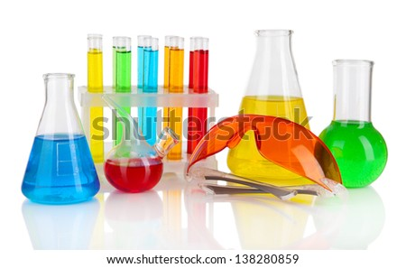 Test-tubes with colorful liquids isolated on white