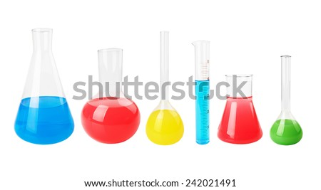 test tubes with colorful liquids isolated on white background - stock photo