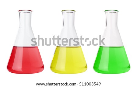 Test tubes with colorful liquids, isolated on white background