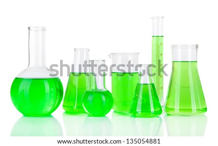 Test-tubes with green liquid isolated on white