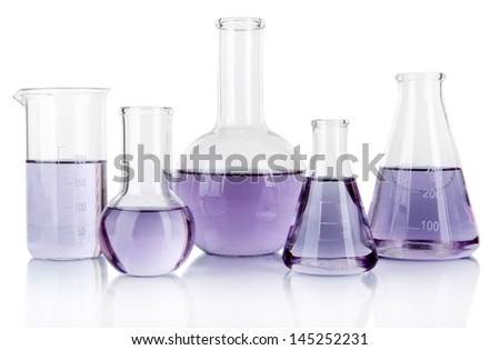 Test-tubes with light purple liquid isolated on white - stock photo