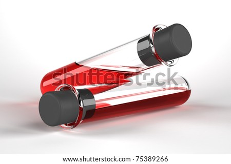 Test tubes with red liquid on white background - stock photo