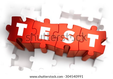 Test - White Word on Red Puzzles on White Background. 3D Illustration. - stock photo
