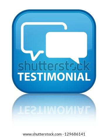 Testimonial glossy blue reflected square button - stock photo