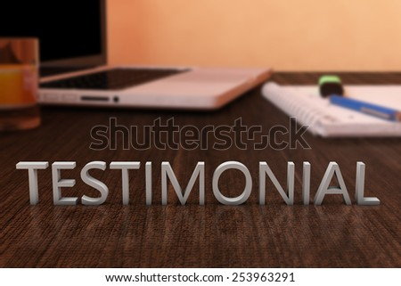 Testimonial - letters on wooden desk with laptop computer and a notebook. 3d render illustration. - stock photo