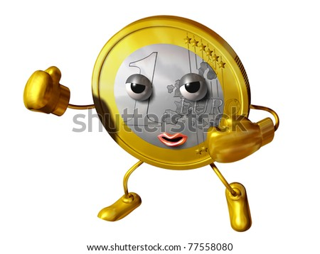 testimonial of Euro coin in boxer position ready to fight - stock photo