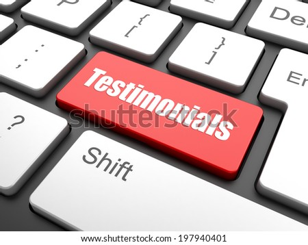 testimonial word on keyboard key, notebook computer button,   - stock photo