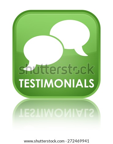 Testimonials (chat icon) soft green square button - stock photo