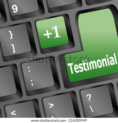 Testimonials computer key shows recommendations and tributes. raster - stock photo