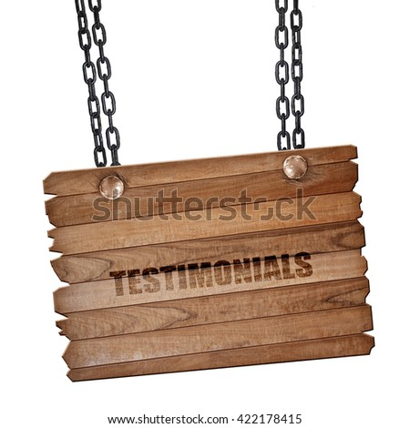 testimonials, 3D rendering, wooden board on a grunge chain - stock photo