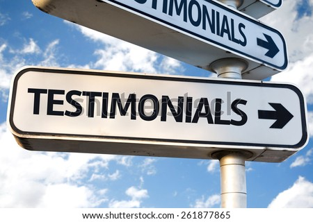 Testimonials direction sign on sky background - stock photo