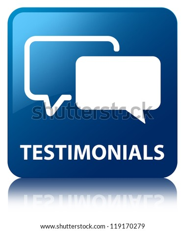 Testimonials glossy blue reflected square button - stock photo