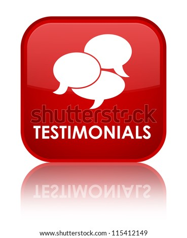Testimonials glossy red reflected square button - stock photo