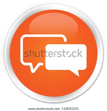 Testimonials icon orange button - stock photo
