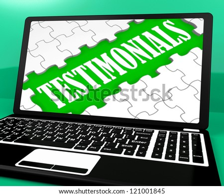 Testimonials Puzzle On Notebook Shows Online Credentials And Website's Recommendations