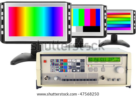 Testing and customization of modern computer screen monitors by means of the digital generator collage. Isolated on white, mass production. - stock photo