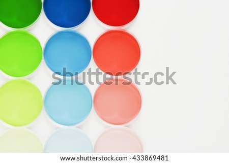 Tests in laboratory with colorful liquids - stock photo