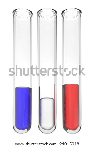 testtubes with liquids in french colors on white background