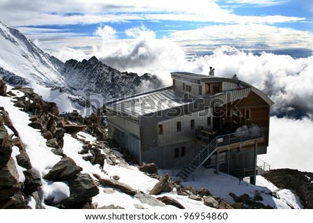 Tete Rousse mountain house in Mont Blanc climbing route, French Alps, France - stock photo