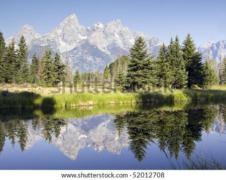 Teton Reflection at Schwabacher's Landing, Grand Teton National Park, Wyoming - stock photo