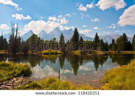 Teton Reflection in Grand Teton National Park,Wyoming - stock photo