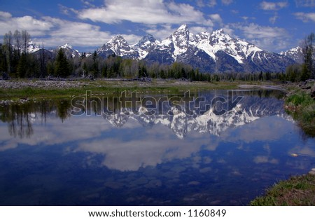Tetons reflecting in the Snake River,Wyoming
