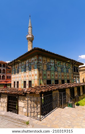 TETOVO-JUNE 12, 2014: A major difference between Decorated Mosque  in Tetovo , Macedonia (built in 1438) and other Ottoman mosques is that this one does not have a distinctive exterior dome. - stock photo