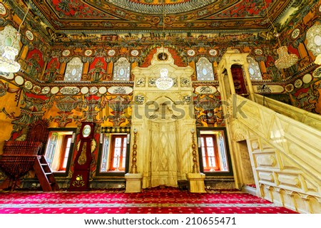 TETOVO-JUNE 12, 2014: Decorated Mosque  in Tetovo (Macedonia), built in 1438, is perhaps the only one with the illustration of the shrine of the Prophet Muhammad - stock photo