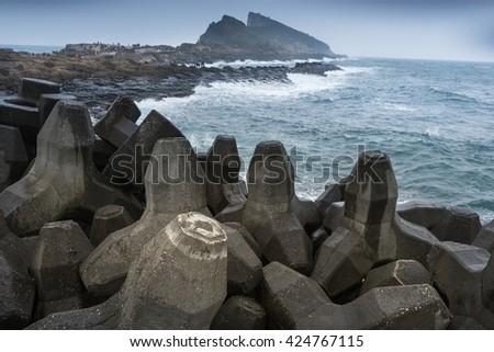 Tetrapode at the coastline in north Taiwan. - stock photo