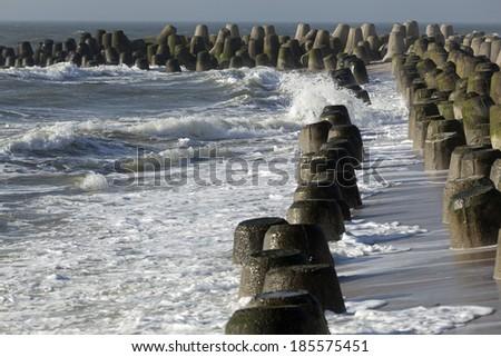 Tetrapode at the coastline of the island of Sylt, Germany - stock photo