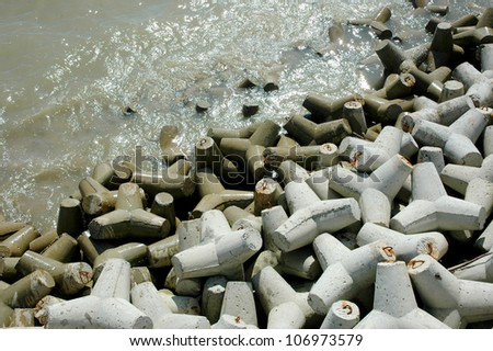 tetrapods is concrete that is used as a breaking wave