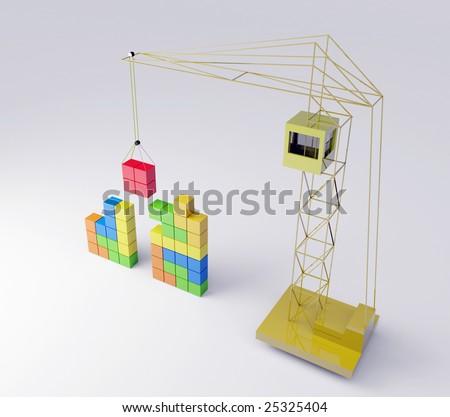 Tetris concept. Top - stock photo
