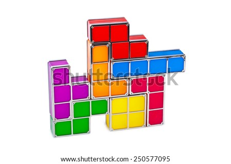 Tetris toy blocks isolated on white background - stock photo